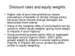 discount rates and equity weights