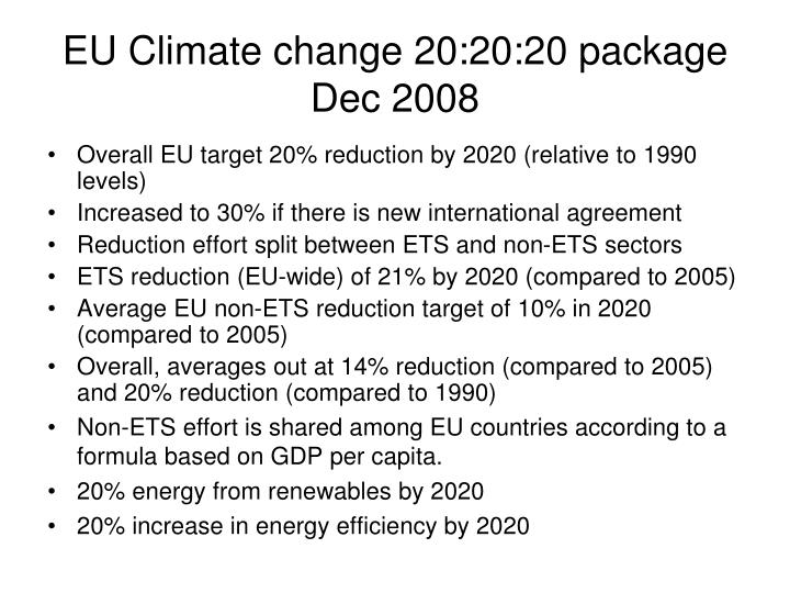 EU Climate change 20:20:20 package Dec 2008