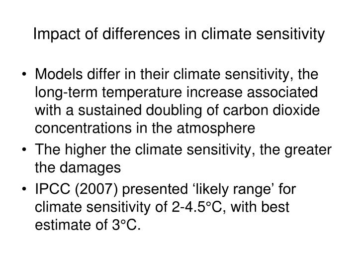 Impact of differences in climate sensitivity