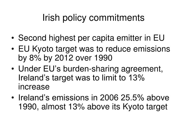 Irish policy commitments