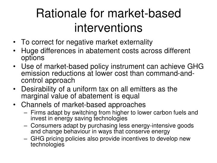 Rationale for market-based interventions