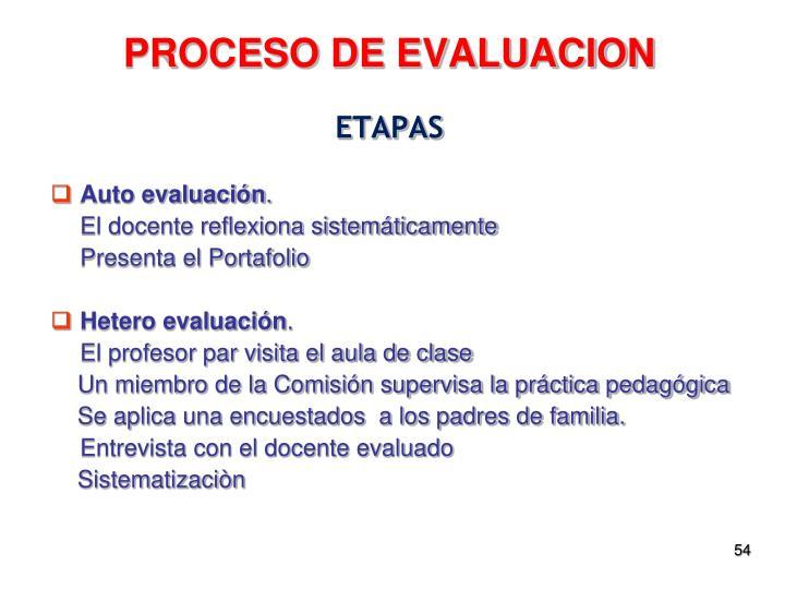PROCESO DE EVALUACION