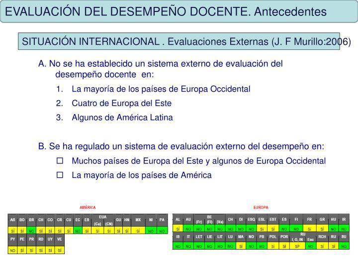EVALUACIÓN DEL DESEMPEÑO DOCENTE. Antecedentes