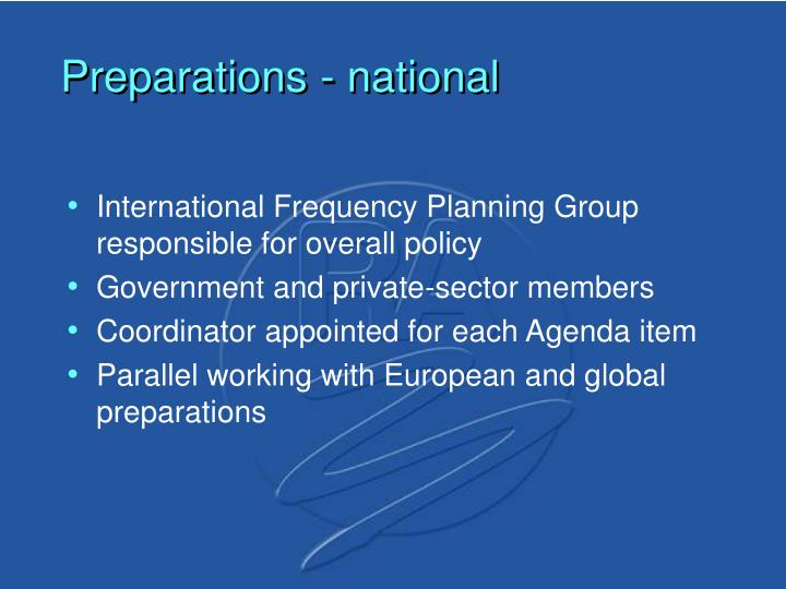 Preparations - national