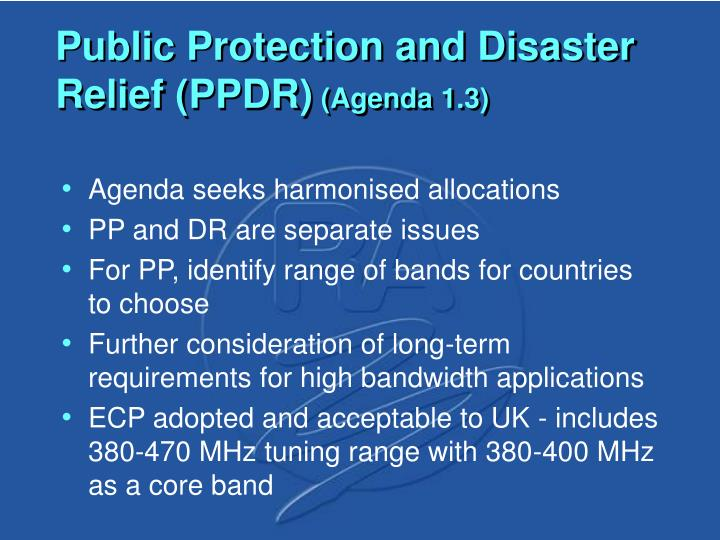 Public Protection and Disaster Relief (PPDR)