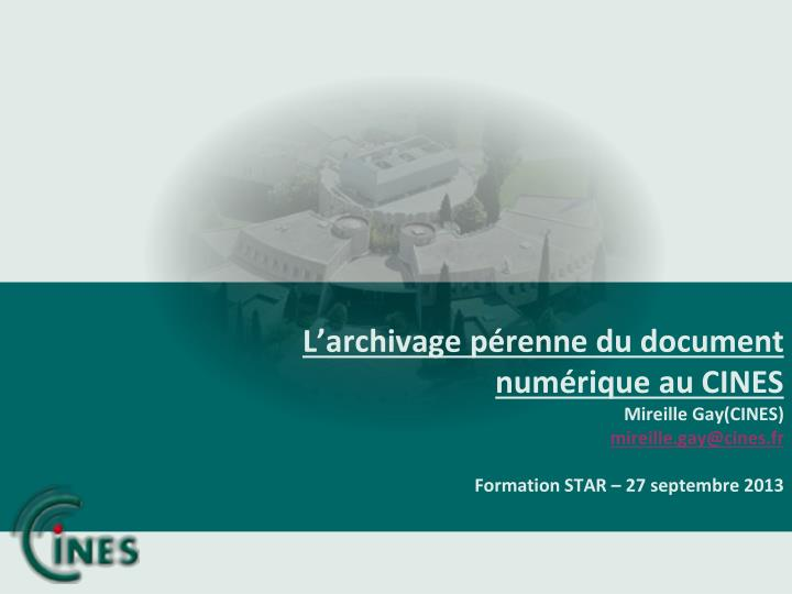 L'archivage pérenne du document