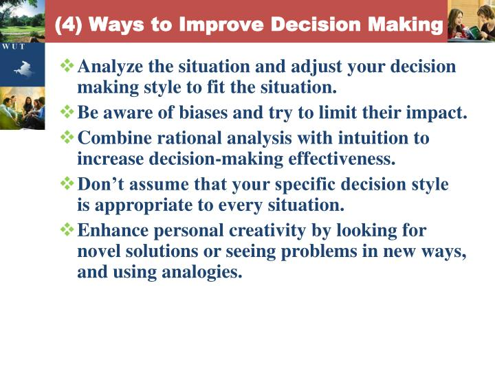 (4) Ways to Improve Decision Making