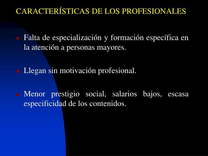 CARACTERÍSTICAS DE LOS PROFESIONALES