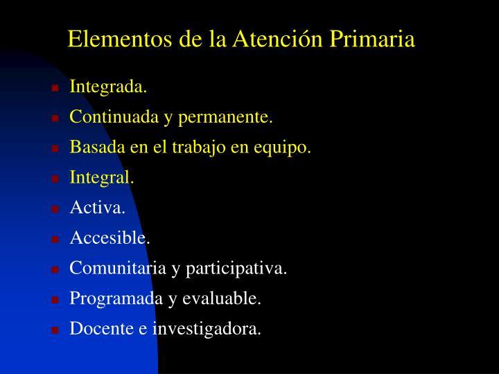 Elementos de la Atención Primaria