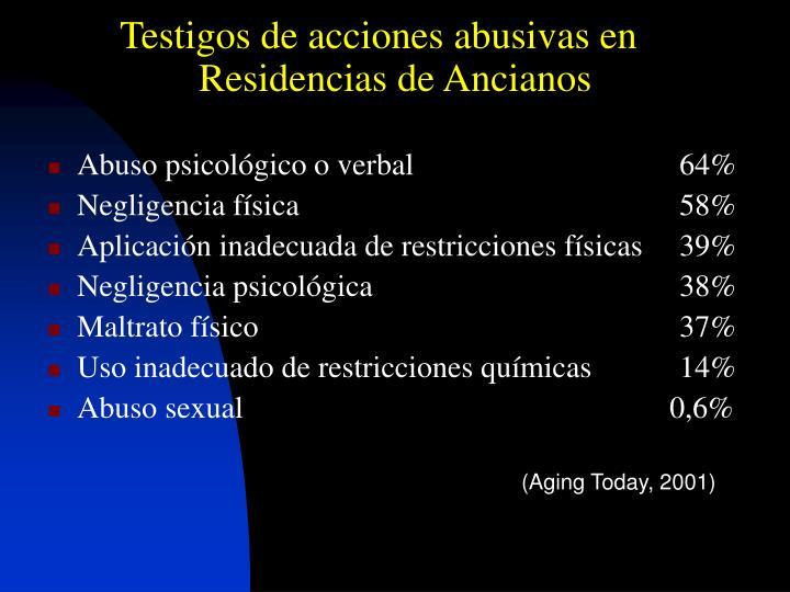 Testigos de acciones abusivas en Residencias de Ancianos