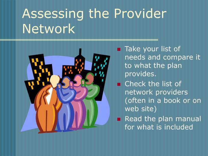 Assessing the Provider Network