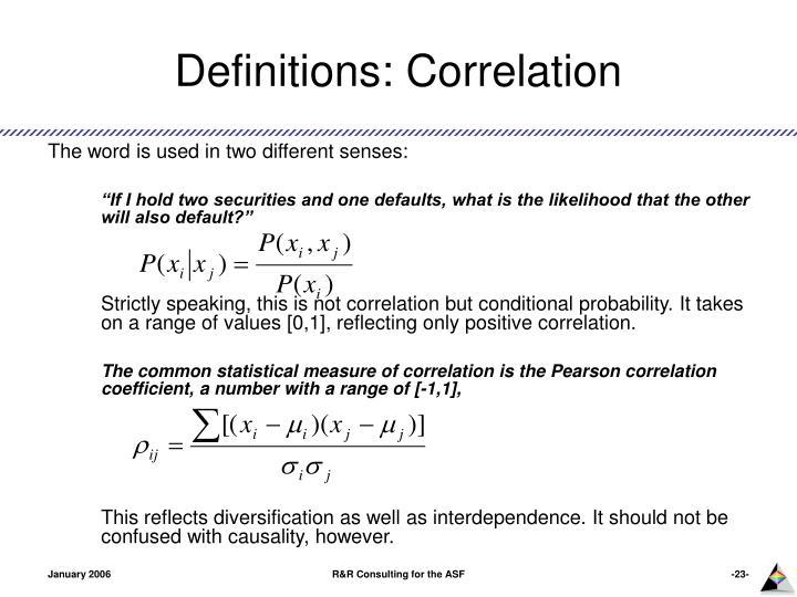Definitions: Correlation