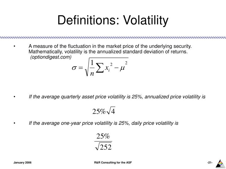 Definitions: Volatility
