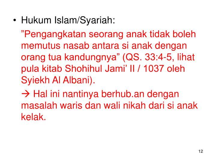 Hukum Islam/Syariah: