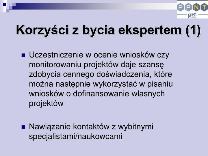 Korzyści z bycia ekspertem (1)