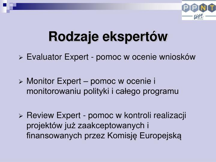 Rodzaje ekspertów