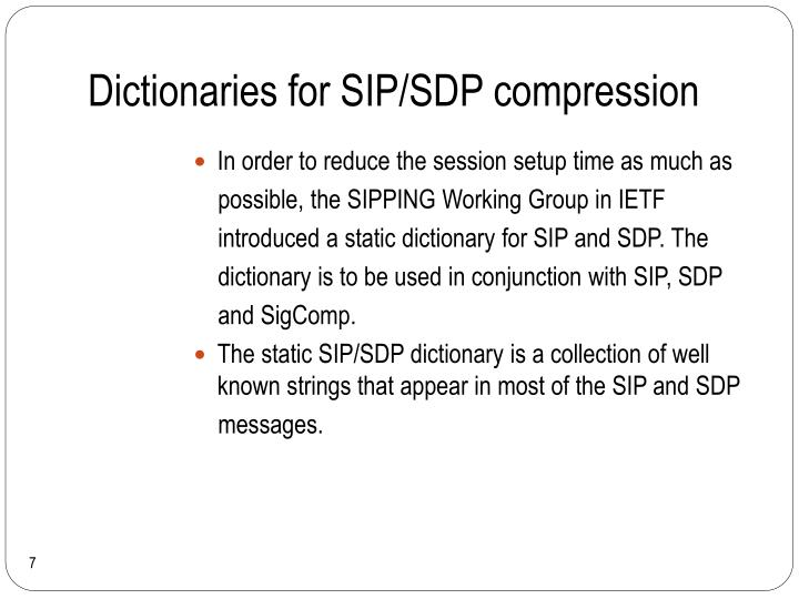 Dictionaries for SIP/SDP compression