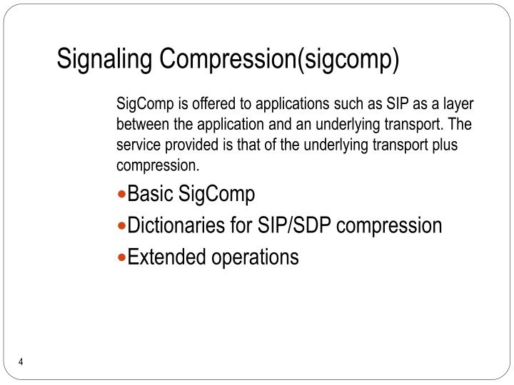 Signaling Compression(sigcomp)