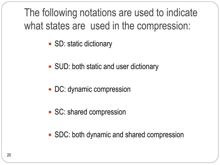 The following notations are used to indicate what states are  used in the compression: