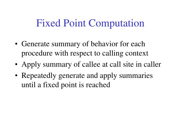 Fixed Point Computation