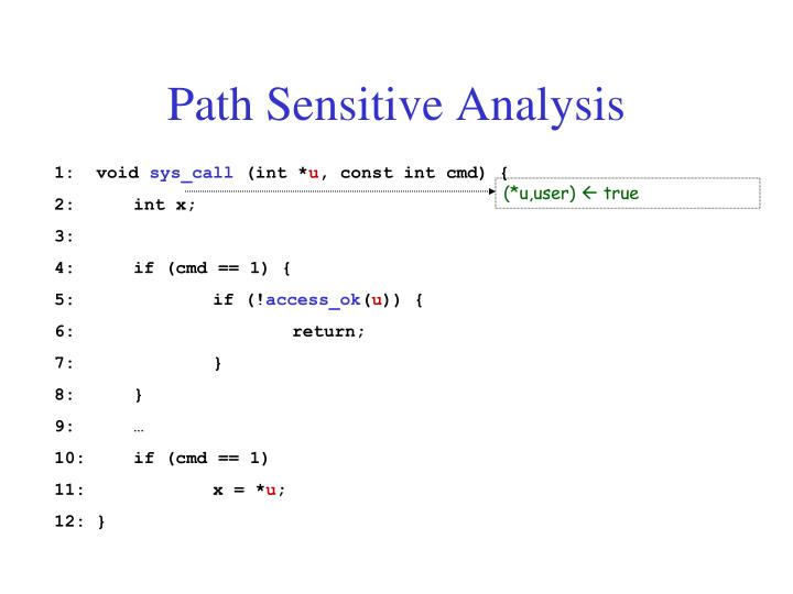 Path Sensitive Analysis