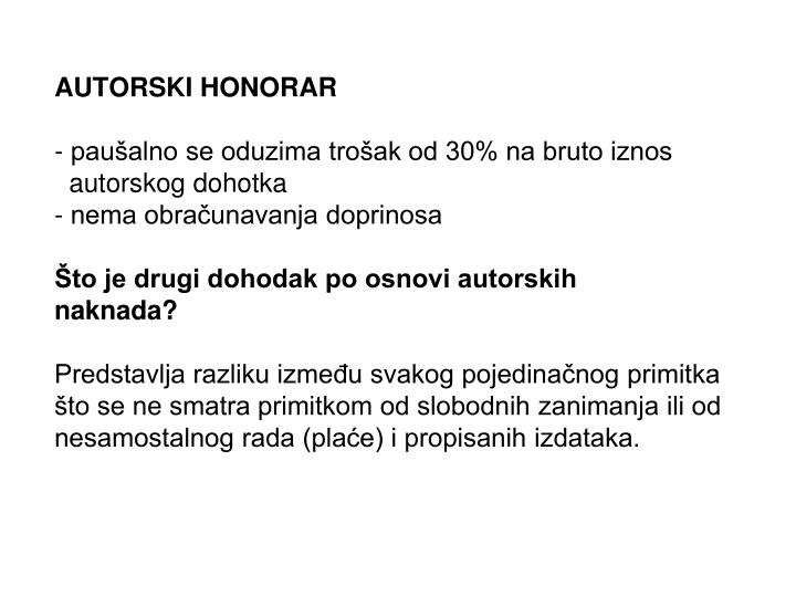 AUTORSKI HONORAR