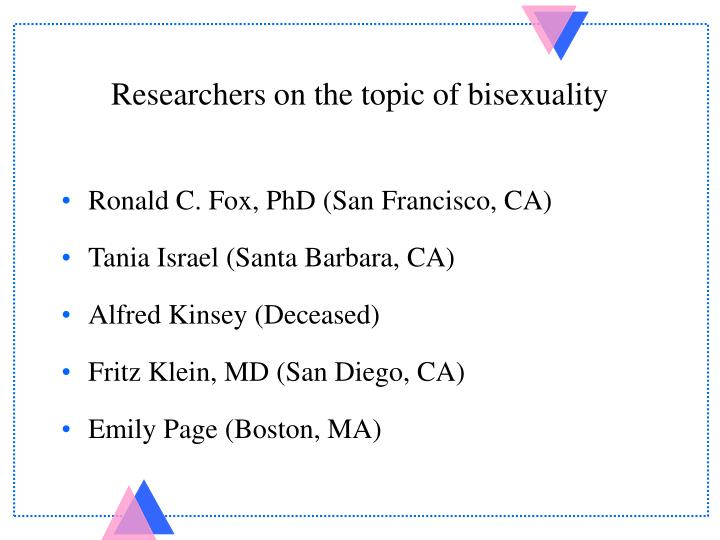 Researchers on the topic of bisexuality