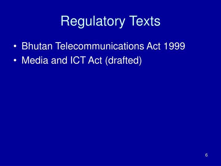 Regulatory Texts