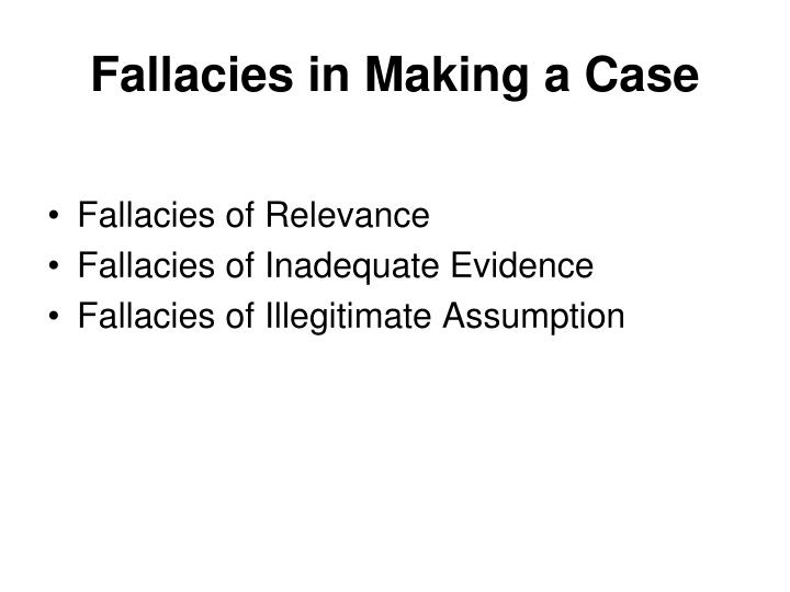Fallacies in Making a Case