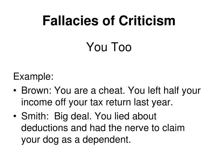 Fallacies of Criticism