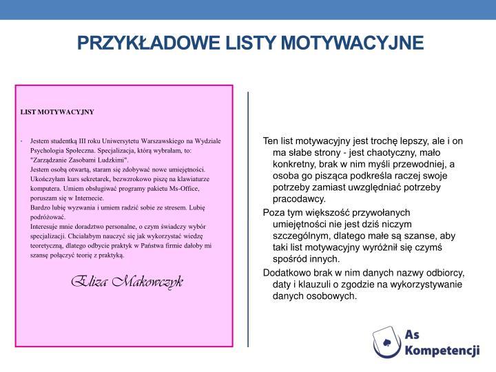 Przykładowe listy motywacyjne