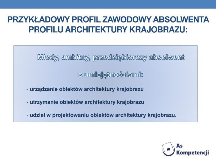 Przykładowy profil zawodowy absolwenta profilu architektury krajobrazu: