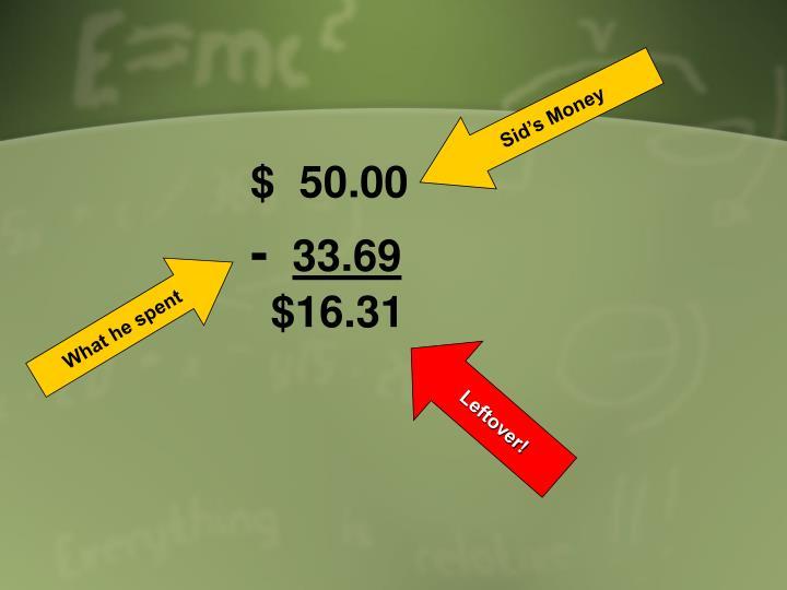 Sid's Money