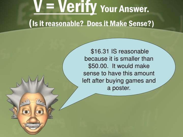 V = Verify