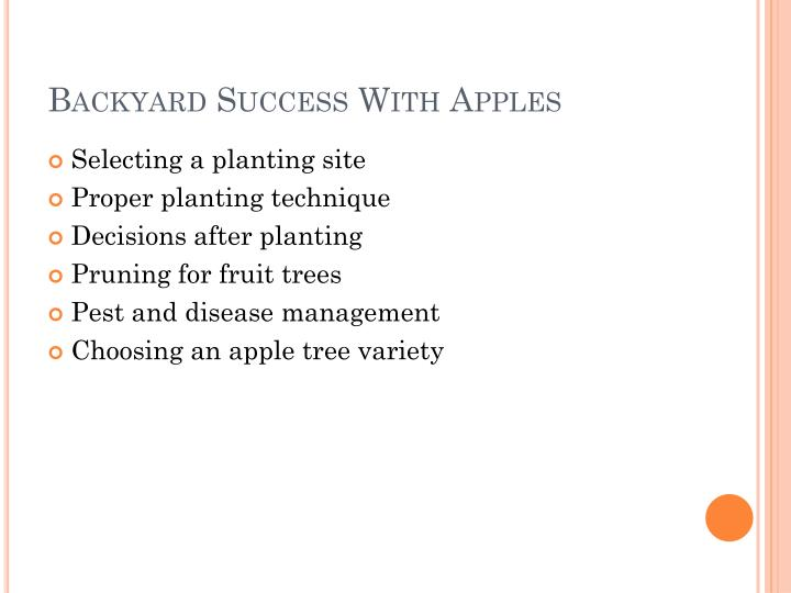 Backyard Success With Apples
