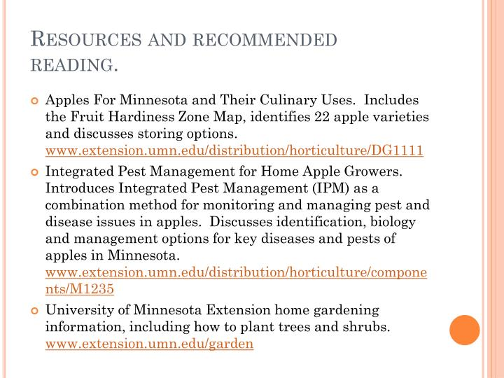 Resources and recommended reading.