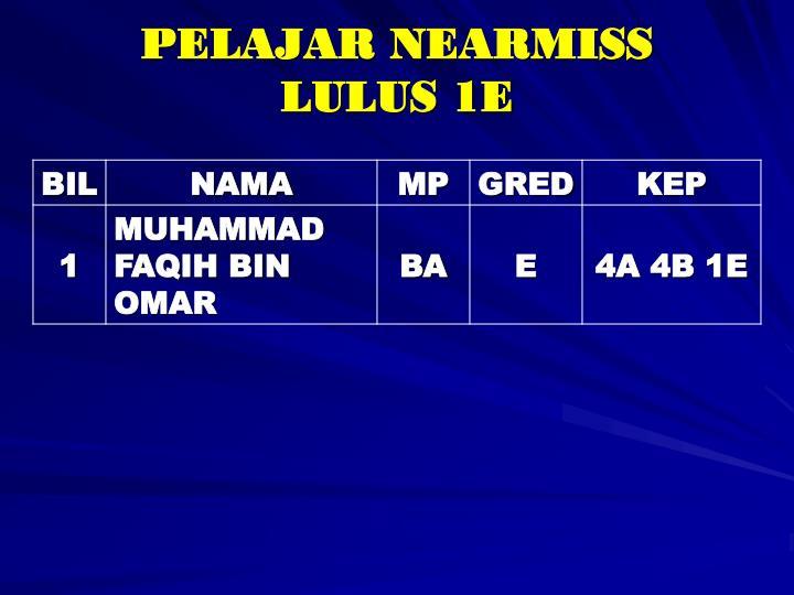 PELAJAR NEARMISS LULUS 1E