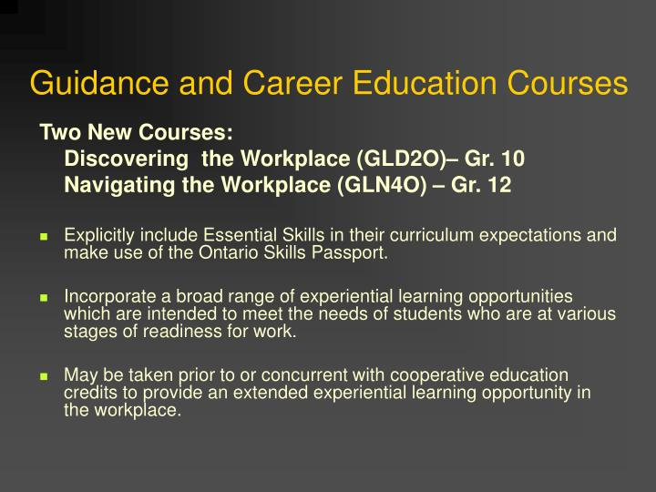 Guidance and Career Education Courses
