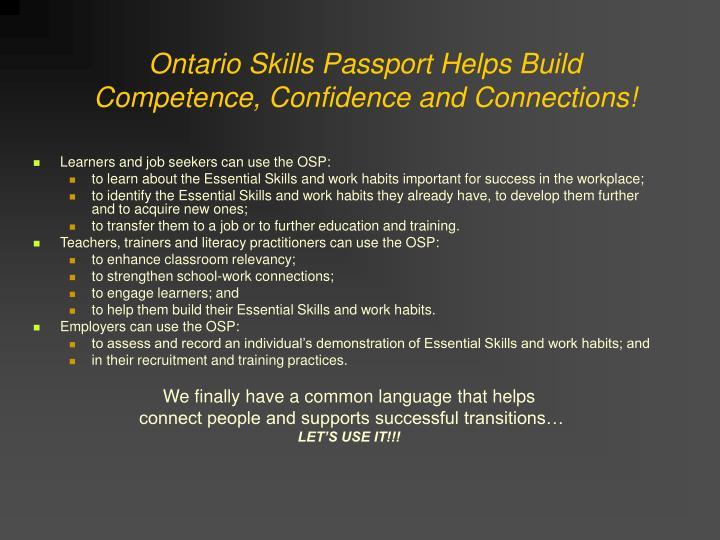 Ontario Skills Passport Helps Build