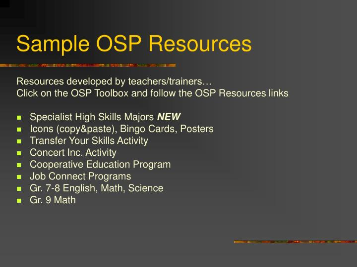 Sample OSP Resources