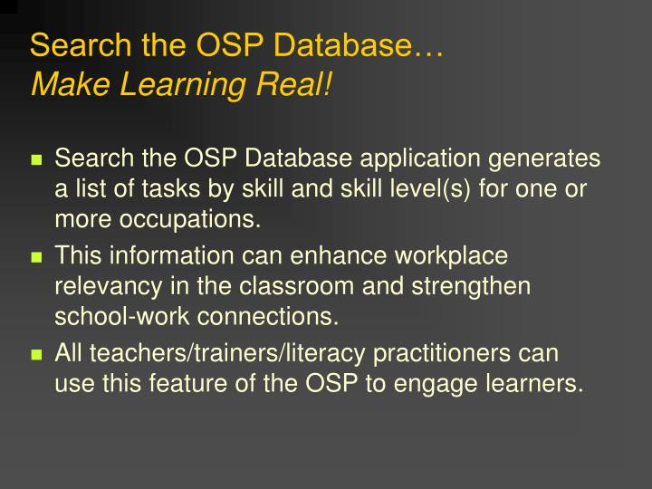 Search the OSP Database…