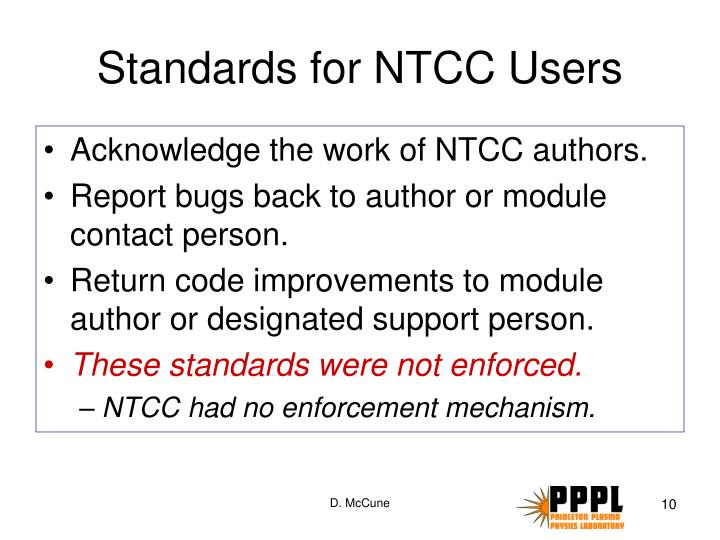 Standards for NTCC Users