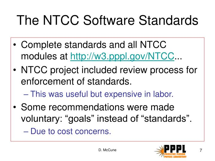 The NTCC Software Standards