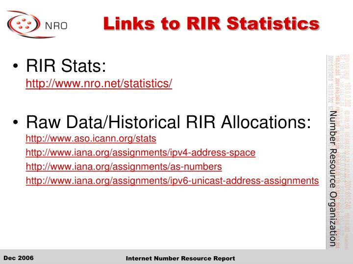 Links to RIR Statistics
