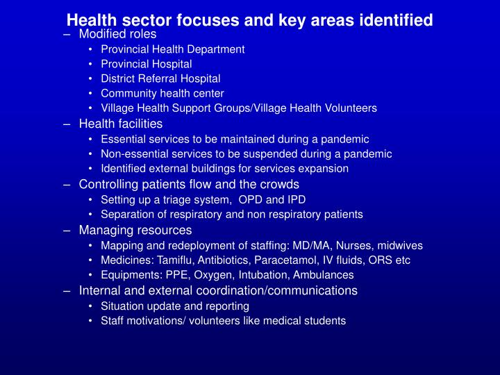 Health sector focuses and key areas identified