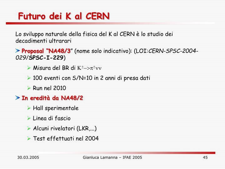 Futuro dei K al CERN