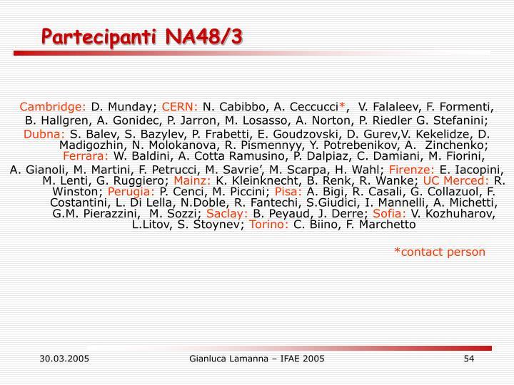 Partecipanti NA48/3