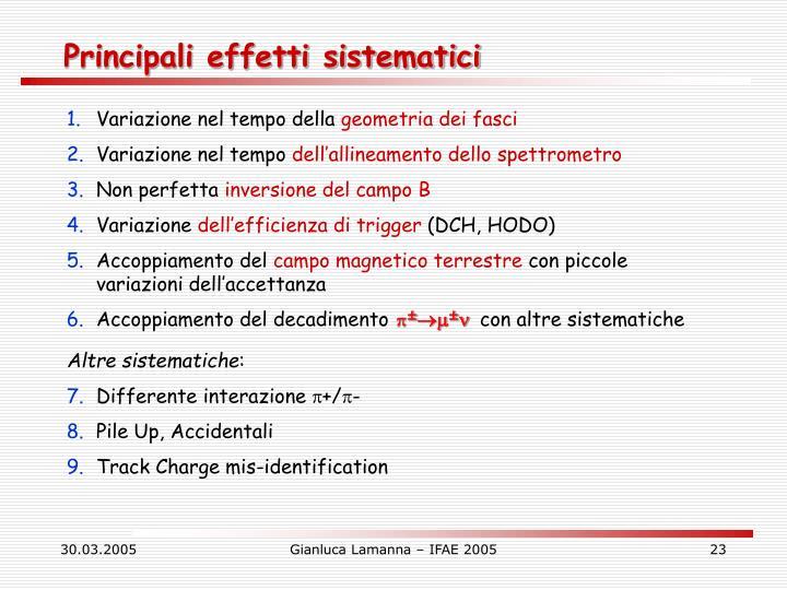 Principali effetti sistematici