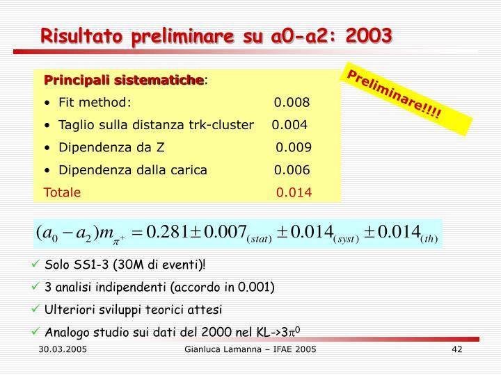Risultato preliminare su a0-a2: 2003