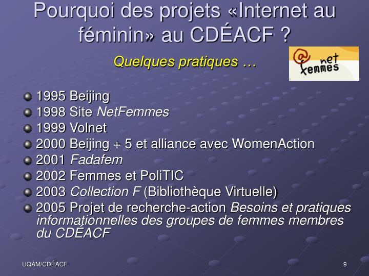 Pourquoi des projets «Internet au féminin» au CDÉACF ?